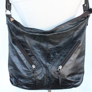 Anthro Leather Satchel Zipper Pockets Long Strap